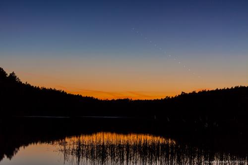 Transfer Merkurego na tle zorzy wieczornej #Merkury #zorza #zmierzch #Chojnice #astrofoto #krajobraz