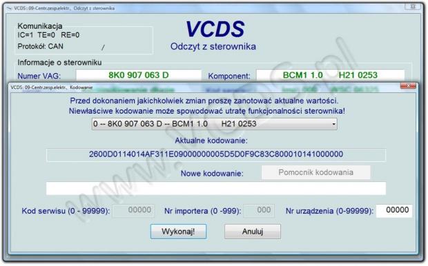 VCDS Poradnik adaptacje kodowanie zeszyt kodowań