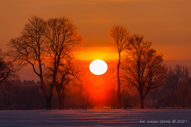 Wschód słońca w mroźny -20 poranek #wschód #słońca #Chojnice
