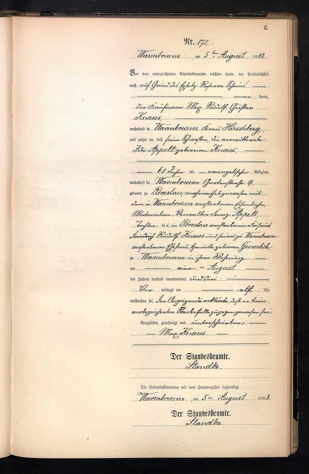 Appelt Knaus Ida zgon 1903