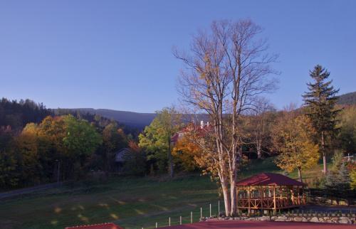 Jesień w Górach Izerskich (widok z okna miejsca zakwaterowania)